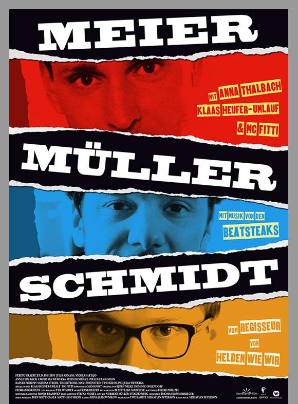 """Das Filmplakat """"Meier Müller Schmidt"""" zeigt jeweils die Augenpartien der drei jungen Männer untereinander."""