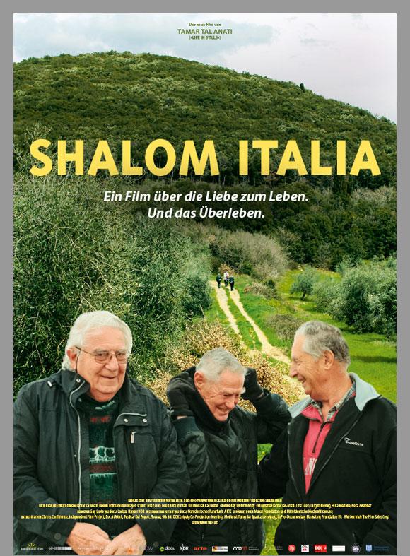 """Das Kinoplakat """"Shalom Italia"""" zeigt drei freundliche alte Herren in Wanderkleidung vor einem baumbewachsenen, steilen Hügel."""