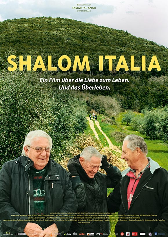 Das Plakat zum Film Shalom Italia zeigt drei freundliche alte Männer vor einer grünen, hügeligen Landschaft mit einem feldweg, der sich in der Ferne verliert.