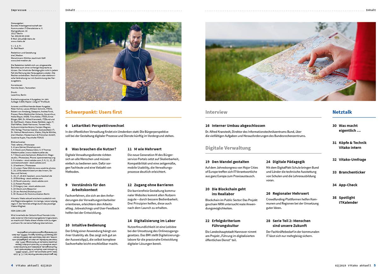 Doppelseite mit dem Inhaltsverzeichnis der vitako aktuell Nummer 2, 2019