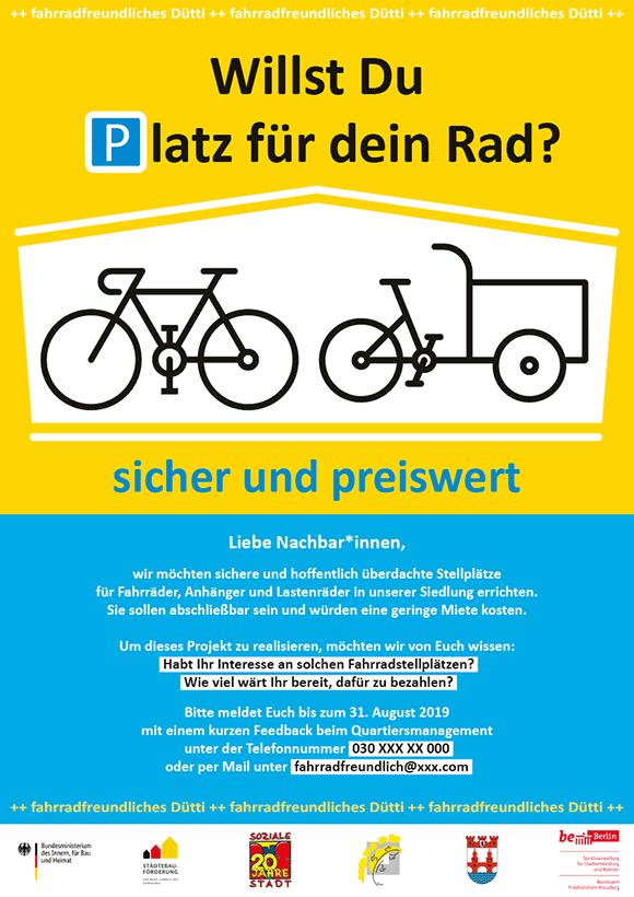 Plakat für fahrrad-Stellplätze, gelb-blau